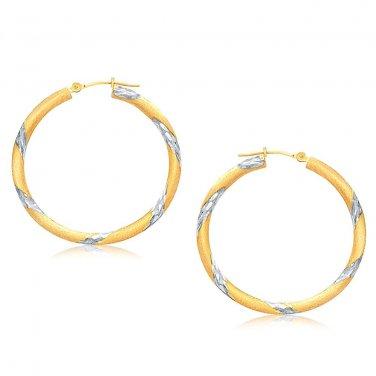 14K Two Tone Gold Polished Hoop Earrings (30 mm) - New Genuine Fine Jewelry