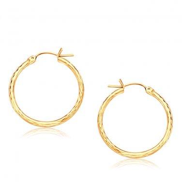14K Yellow Gold Diamond Cut Hoop Earrings  25mm Diameter - New Fine Jewelry