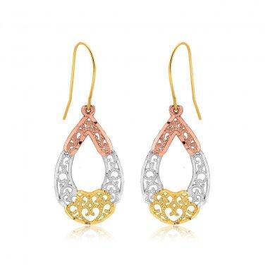 Tri Color Jewellery Open Drop Earrings in 10K Gold - Genuine Real Fine Jewelry