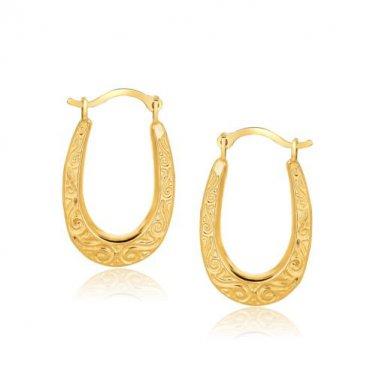 10 Karat Yellow Gold Fancy Fashion New Oval Hoop Earrings - Genuine Fine Jewelry