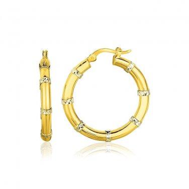 14K Two-Tone Gold Alternate Textured Hoop Earrings - New Genuine Fine Jewelry