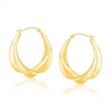 Gold Jewellery Yellow Scallop Motif Graduated Oval Hoop Earrings - Fine Jewelry