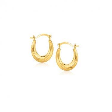 10 Karat Yellow Gold Jewellery Oval Hoop Earrings - Genuine New Fine Jewelry