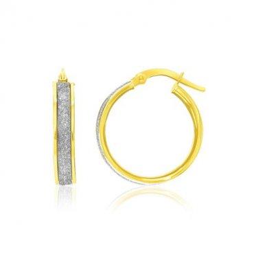 14K Two Tone Gold Glittery Center Hoop Earrings - Genuine Fine Metal New Jewelry