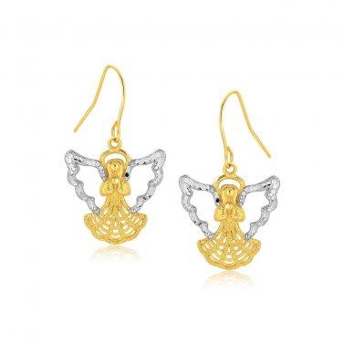 Two Tone Angel Jewellery Drop Earrings in 10 Karat Gold - Genuine Fine Jewelry
