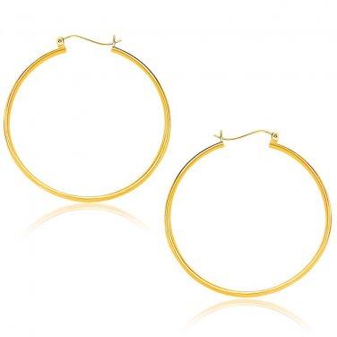 14K Yellow Gold Jewellery Polished Hoop Earrings (40mm) - Genuine Fine Jewelry