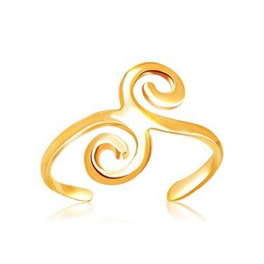 14 Karat Jewellery Yellow Gold Scrollwork Motif Toe Ring - Genuine Fine Jewelry