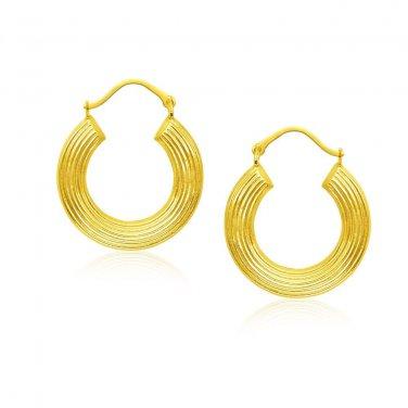 14 Karat New Yellow Gold Hoop Earrings with Line Texture - Genuine Fine Jewelry