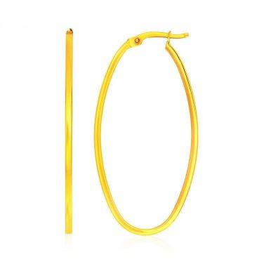 14 Karat Yellow Gold Slim Oval Shape Hoop Unique Earrings - Genuine Fine Jewelry