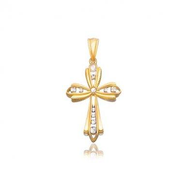 14 Karat Two Tone Gold Fancy Cross Pendant with Diamond-Cuts - Fine Jewelry