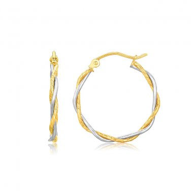 14K Two Tone Gold Twisted Hoop Earrings 1 inch Diameter - Genuine Fine Jewelry