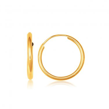14K Yellow Gold Polished Endless Hoop Earrings 5/8 inch Diameter - Fine Jewelry