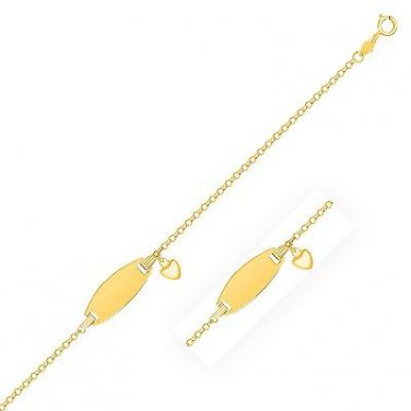 14K Yellow Gold Heart Accented Children's Cable Chain ID Bracelet - Fine Jewelry