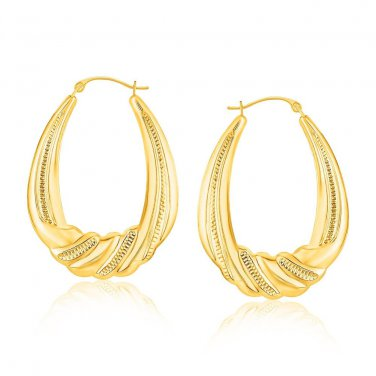 14K New Yellow Gold Graduated Textured Oval Hoop Earrings - Genuine Fine Jewelry