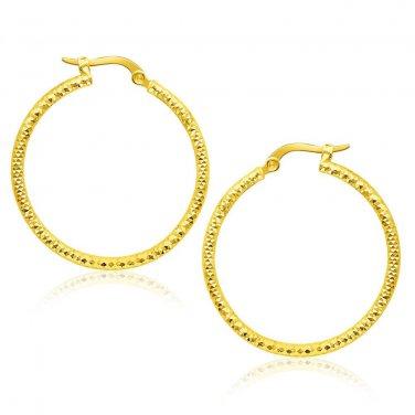 14K Yellow Gold Tube Textured Round Hoop Earrings - New Genuine Fine Jewelry