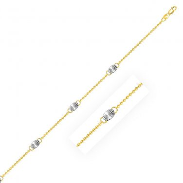 14K Two-Tone Gold Cable Chain Anklet with Diamond Cut Oval Stations Fine Jewelry