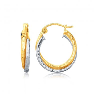 Gold 14 Karat Two Tone Real Interlaced Hoop Earrings with Hammered Texture