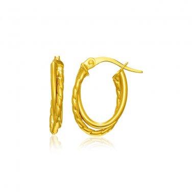14K Yellow Gold Jewellery Textured Double Row Hoop Earrings Genuine Fine Jewelry