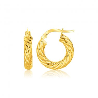 14K Yellow Gold Twisted Cable Small Hoop Earrings - Genuine Fine New Jewelry