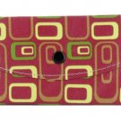 Women's Fashion Wallet ~ Maroon With Green, Yellow, and Brown Designs