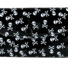 Women's Fashion Wallet ~ Black With White Skulls