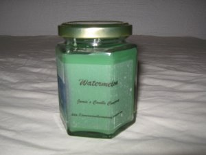 Watermelon Scented 9 Ounce Hexagon Jar Candle