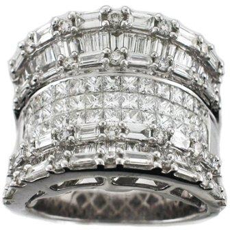 Ring  2.09CT Baguettes Diamonds 1.87CT Princess Cut Diamonds 18KT White Gold