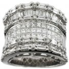 Ring  2.09CT Baguettes Diamonds 1.87CT Princess Cut Diamonds 18KT White Gold