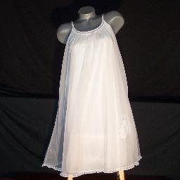 Vintage Lingerie Appliqued Nightgown Gown Nylon Sheer Chiffon Bridal Ivory