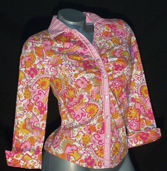 Wet Seal Stretch Shirt Top Mod Paisley Cuffed French Cuff Cuffs 3/4 Length Sleeves