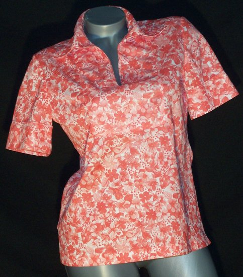 Vintage Emo Indie Shirt Top Coral Polyester Knit 70's
