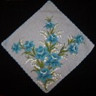 Vintage Blue Floral Handkerchief Hanky Hankie