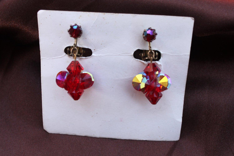 Red AB Dangle Vintage Clip Earrings