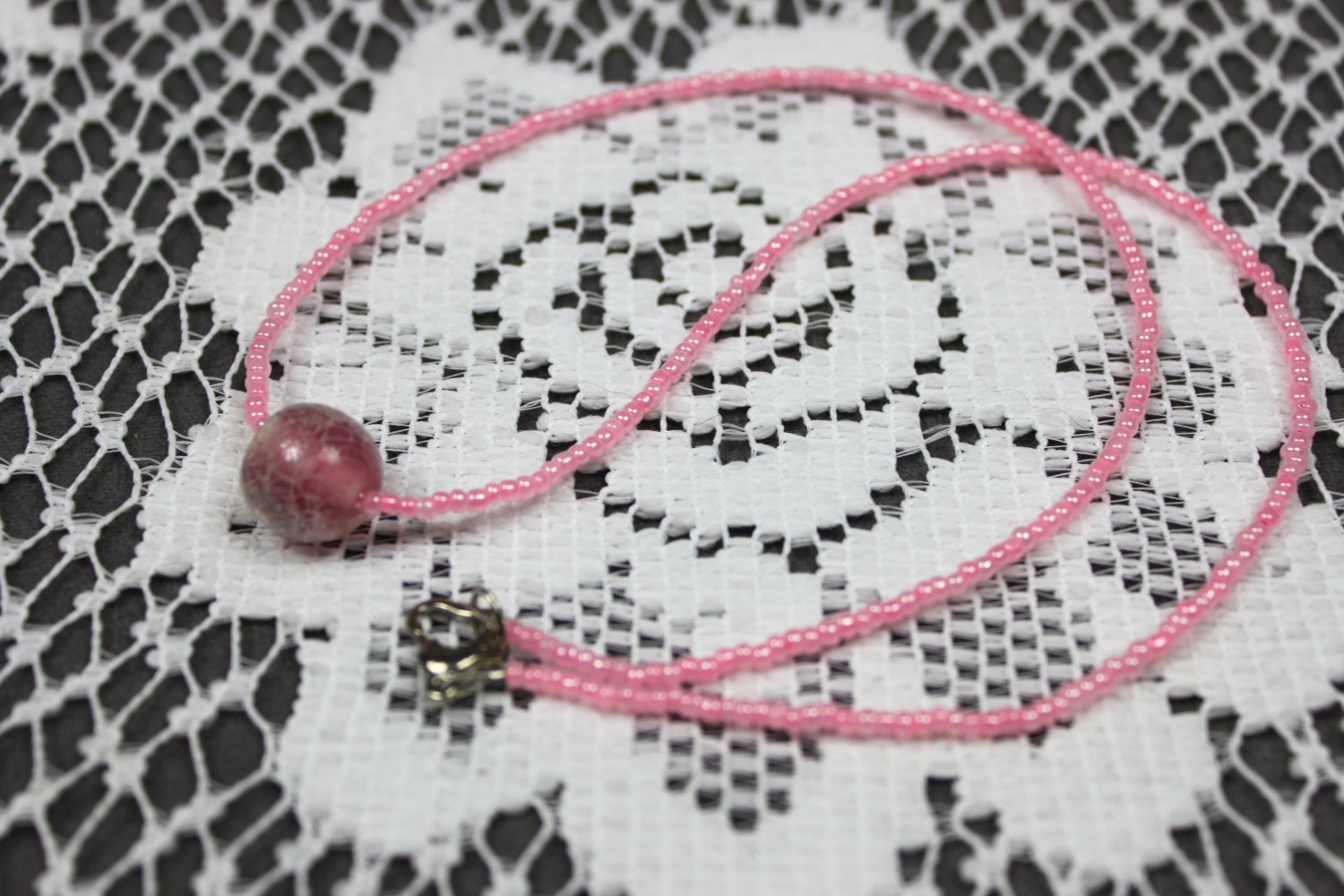 Handmade Pink Floating Bead Necklace