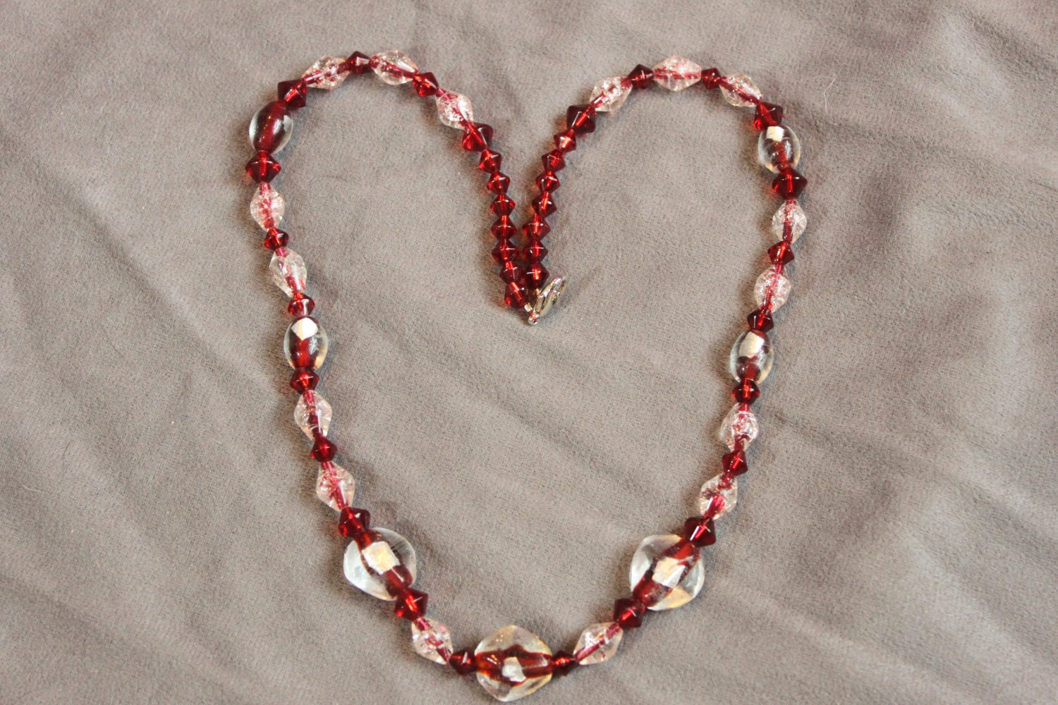 Handmade Red and Silver Necklace