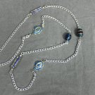 Handmade Long Chain Necklace with Blue