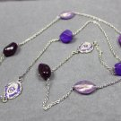 Handmade Long Chain Necklace with Purple Beads
