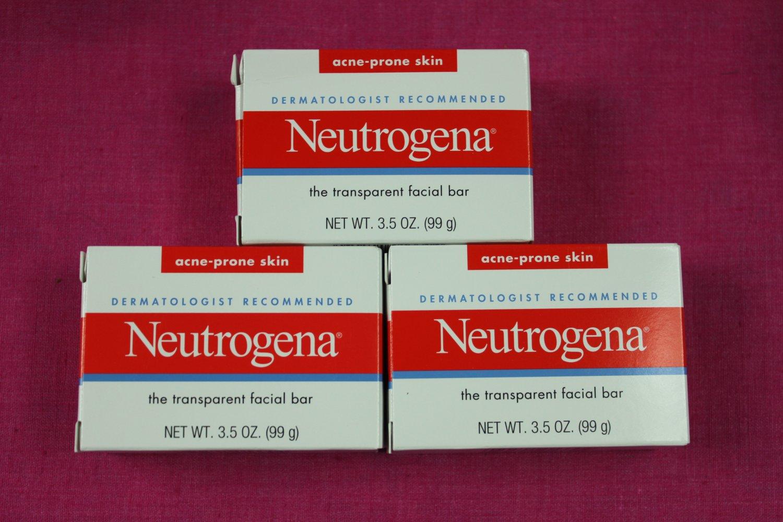 Neutrogena Transparent Facial Bar 3.5 oz, Acne Prone Formula 3 pack