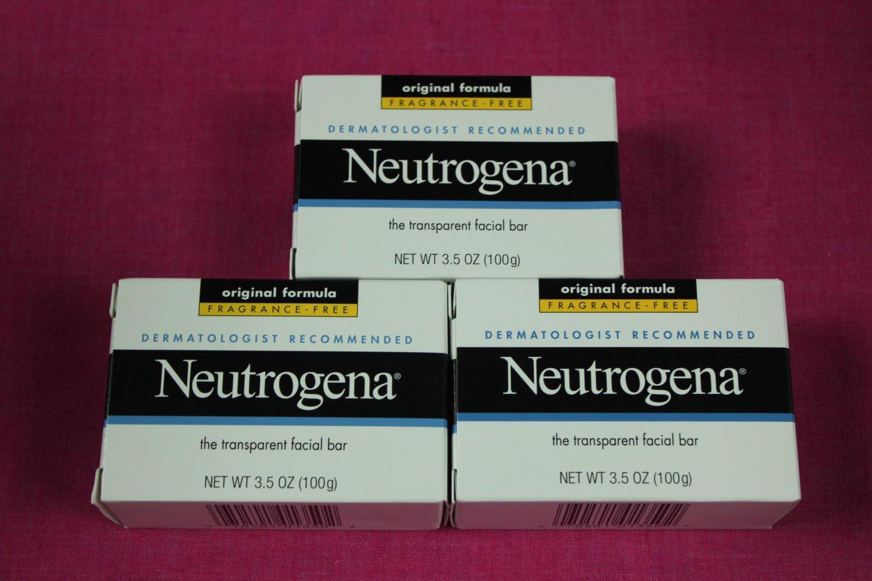 Neutrogena Transparent Facial Bar 3.5 oz, Original Fragrance Free Formula 3 pack