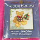 Mill Hill Winter Holiday Pin Kit Teddy's Tree Counted Glass Bead Cross Stitch