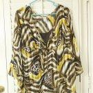 Ladies Animal Print Top Size XL Yellow Brown White