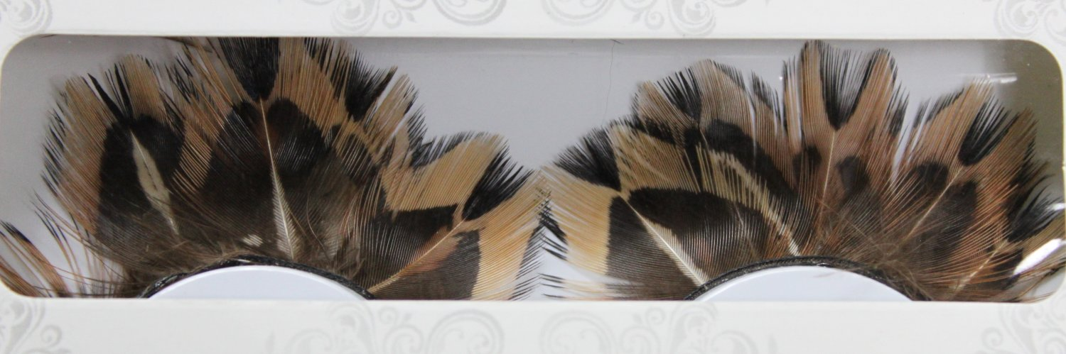 False Eyelashes Halloween Brown and Black Feathers