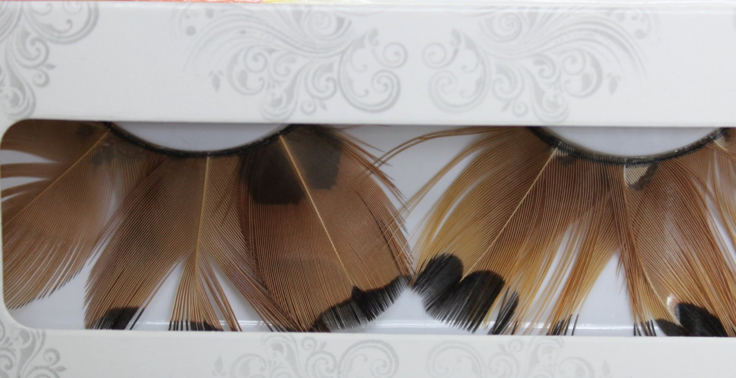 False Eyelashes Halloween Brown Feathers with Black