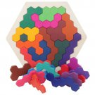 Wooden Puzzles Brain Teasers Toy for Kids Adults, 14 Pcs Colorful Hexagon Fun Geometry Logic Tangram