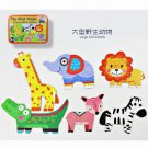 6 Piece/box Large Size Wooden Puzzles Baby Animal and Traffic Vehicle Matching Jigsaw Puzzle Childre