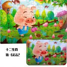 60 Pcs/box Cute Cartoon Puzzle with Iron Box for Children Jigsaw Wooden Animal Puzzle Early Educatio