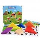 New Iron Box Wooden T Shape Jigsaw Puzzle Wood Toy Baby Kindergarten Educational Puzzles Development