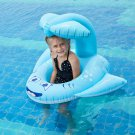 Safe Swimming Pool Float Ring Swim Seat w/ Whale Shaped Inflatable Sunshade for Family Outdoor Swimm