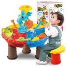 Kids Sand Pit Set Beach Sandpit Table Water Outdoor Garden Play Spade Tool Toy Black