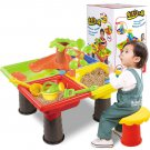 Kids Sand Pit Set Beach Sandpit Table Water Outdoor Garden Play Spade Tool Toy green
